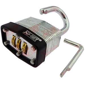 "NuSet 1-1/2"" 40mm 3-Number Combination Padlock, Laminated Steel"