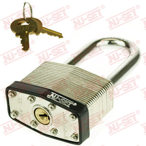 "NuSet 2"" 50mm Keyed Alike A802 Padlock, Long Shackle, Laminated Steel"