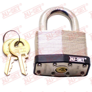 "NuSet 1-1/2"" 40mm B Keyway Padlock, Laminated Steel"