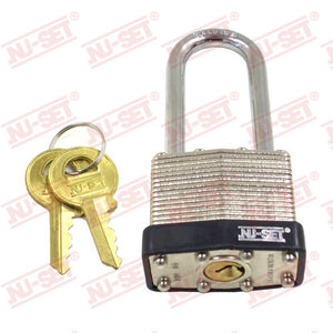 "NuSet 1-1/2"" 40mm Keyed Alike A802 Padlock, Long Shackle, Laminated Steel"