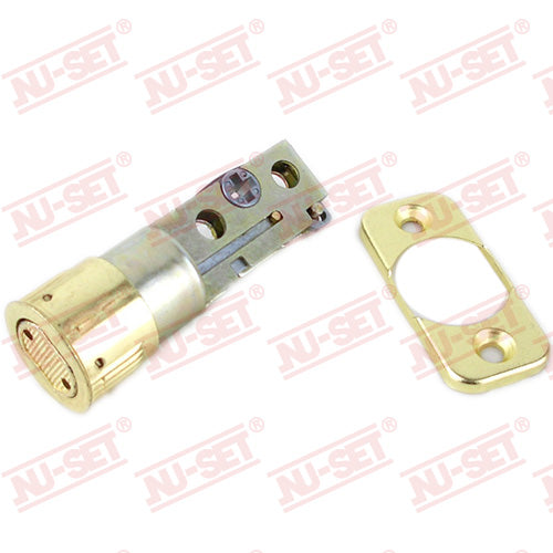 NuSet Backset Adjustable Deadbolt Latch, Detachable Faceplate, Brass