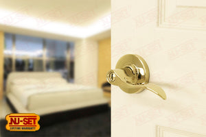 NuSet Abbey: Privacy Lever (Lifetime Brass)