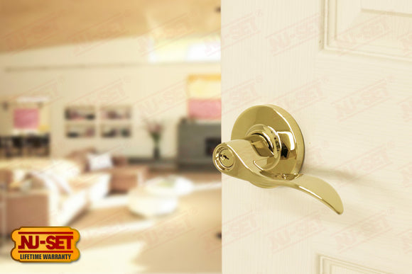 NuSet Abbey: Schlage Keyed Commercial Grade 2 Entry Door Lever (Lifetime Brass)