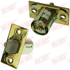 "NuSet 2-3/8"" Backset Entry Latch, Square Corner, Brass, UL Listed"