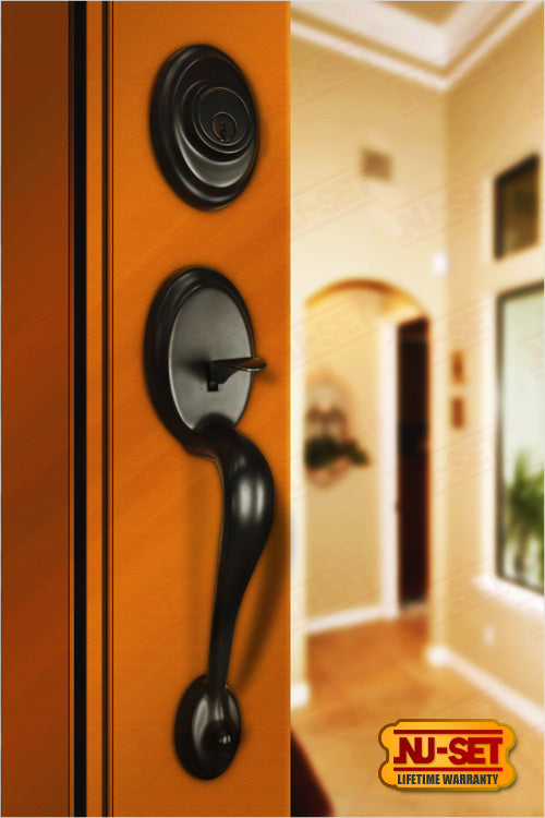NuSet Gabriel: Schlage Keyed Entry Handleset (Oil Rubbed Bronze)