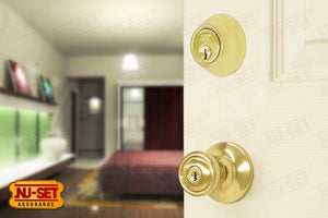 NuSet Builder Special: Keyed Alike Entry Door Knob and Deadbolt (Brass)