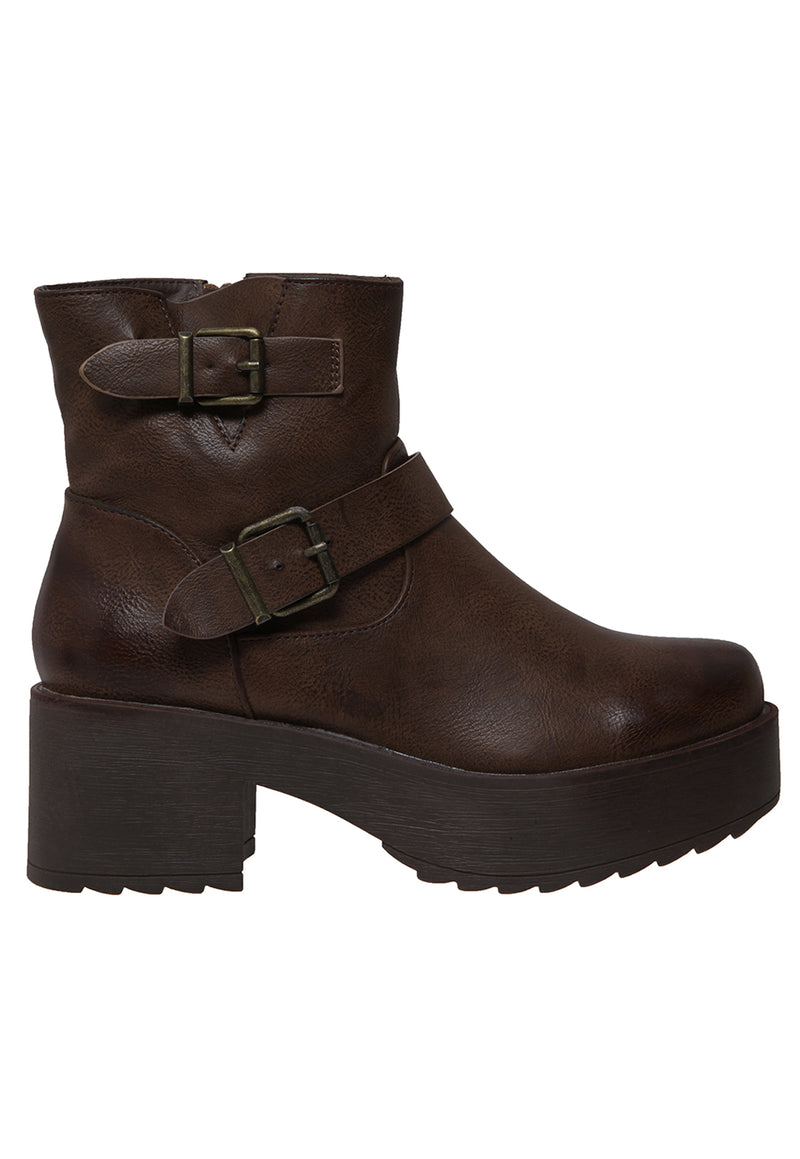 Botin Hebillas Marron