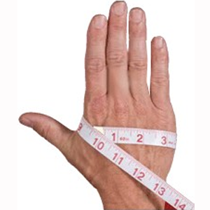 Hand with tape measure wrapped around it.
