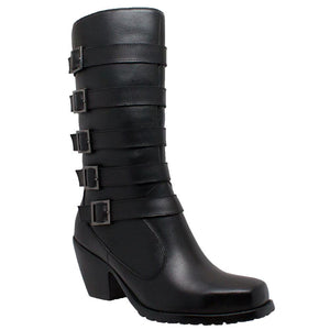Ladies 5 Buckle Boot Black