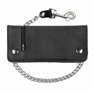Large Zippered Biker Wallet Bk
