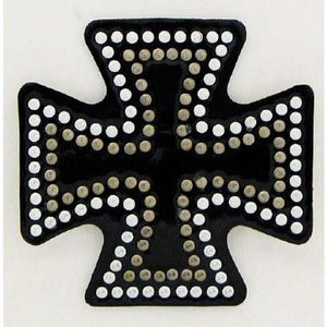 Helmet Bling Iron Cross Bk