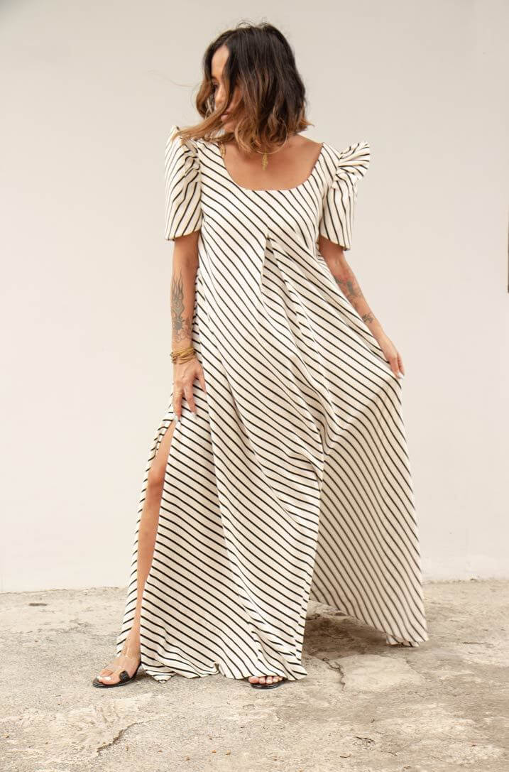 VINTA Best Terno Dresses - Tent Terno Redux in White with Black Stripes