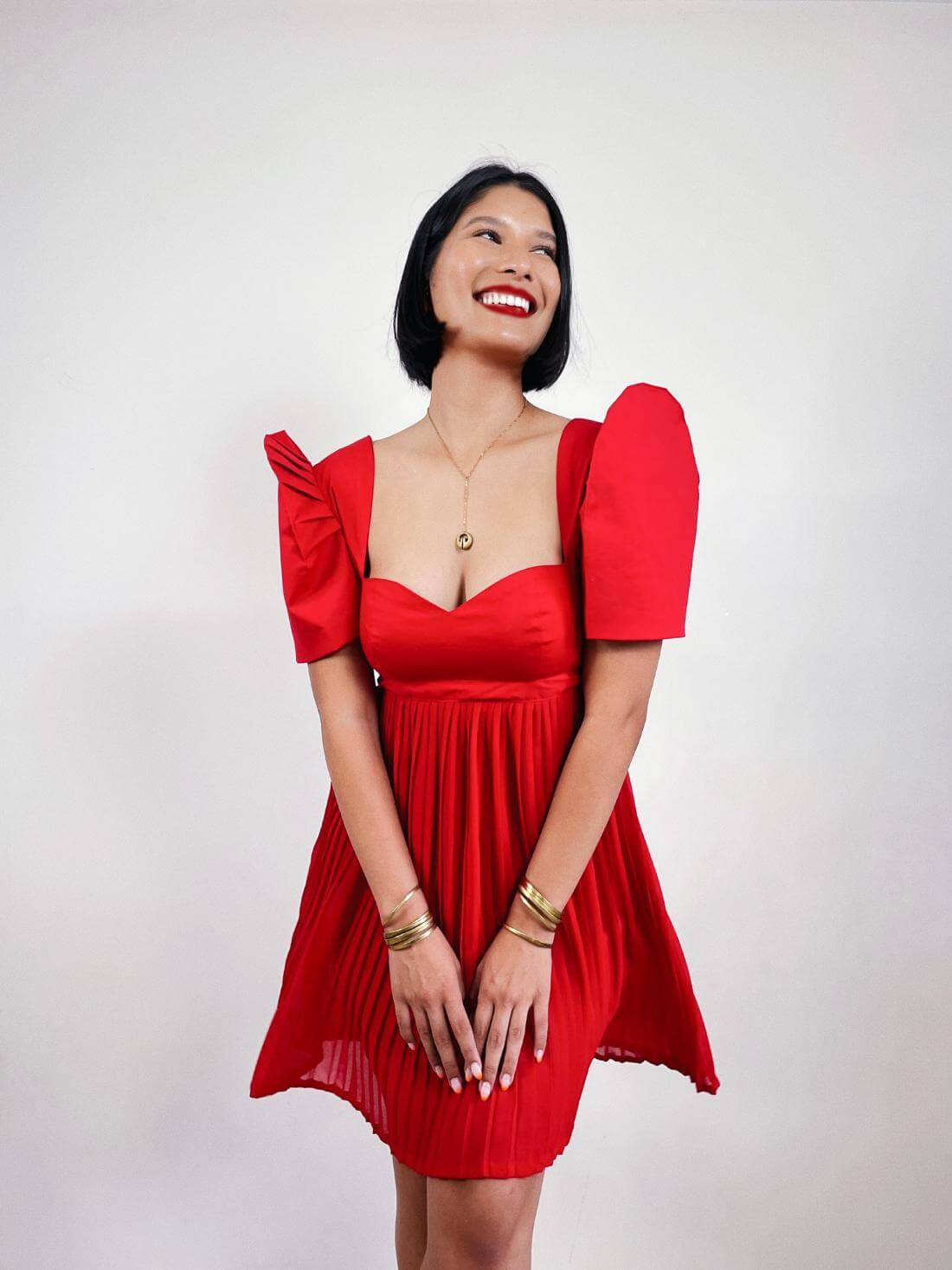 VINTA Gallery Red Pleated Baby Doll Terno Dress