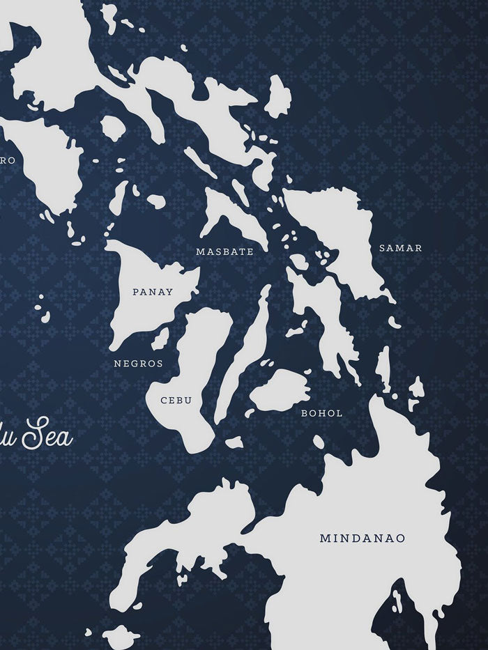 VINTA Map Of The Philippines - Indigo (1st Edition) Close-up