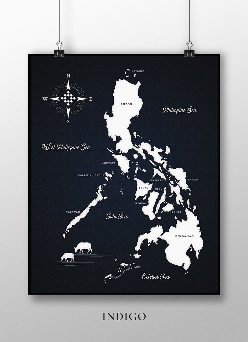 VINTA Map of the Philippine by CMANGO Design - Indigo