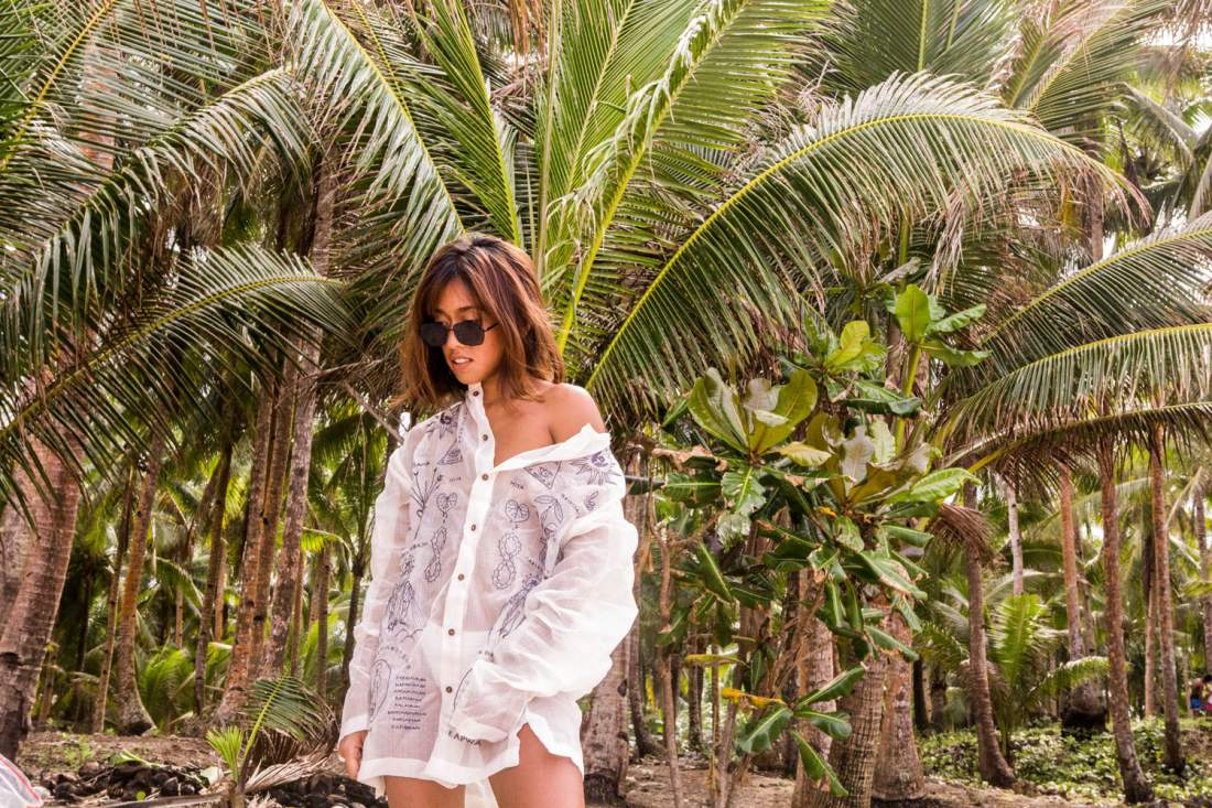 VINTA Unisex Biggie Barong Pamanang Paniniwala in Natural, Front View, styled with white bikini