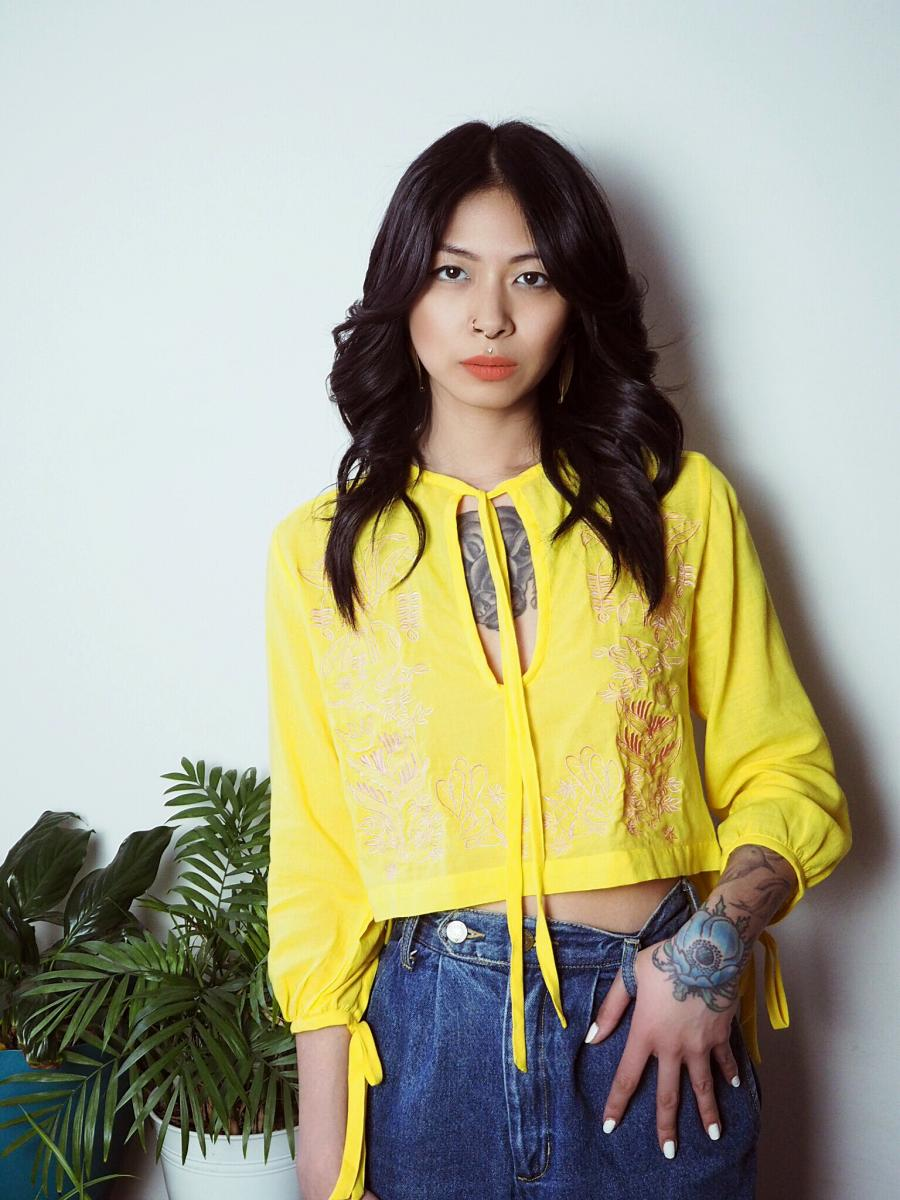 VINTA Crop Barong Blouse, Saba, styled with blue denim jeans