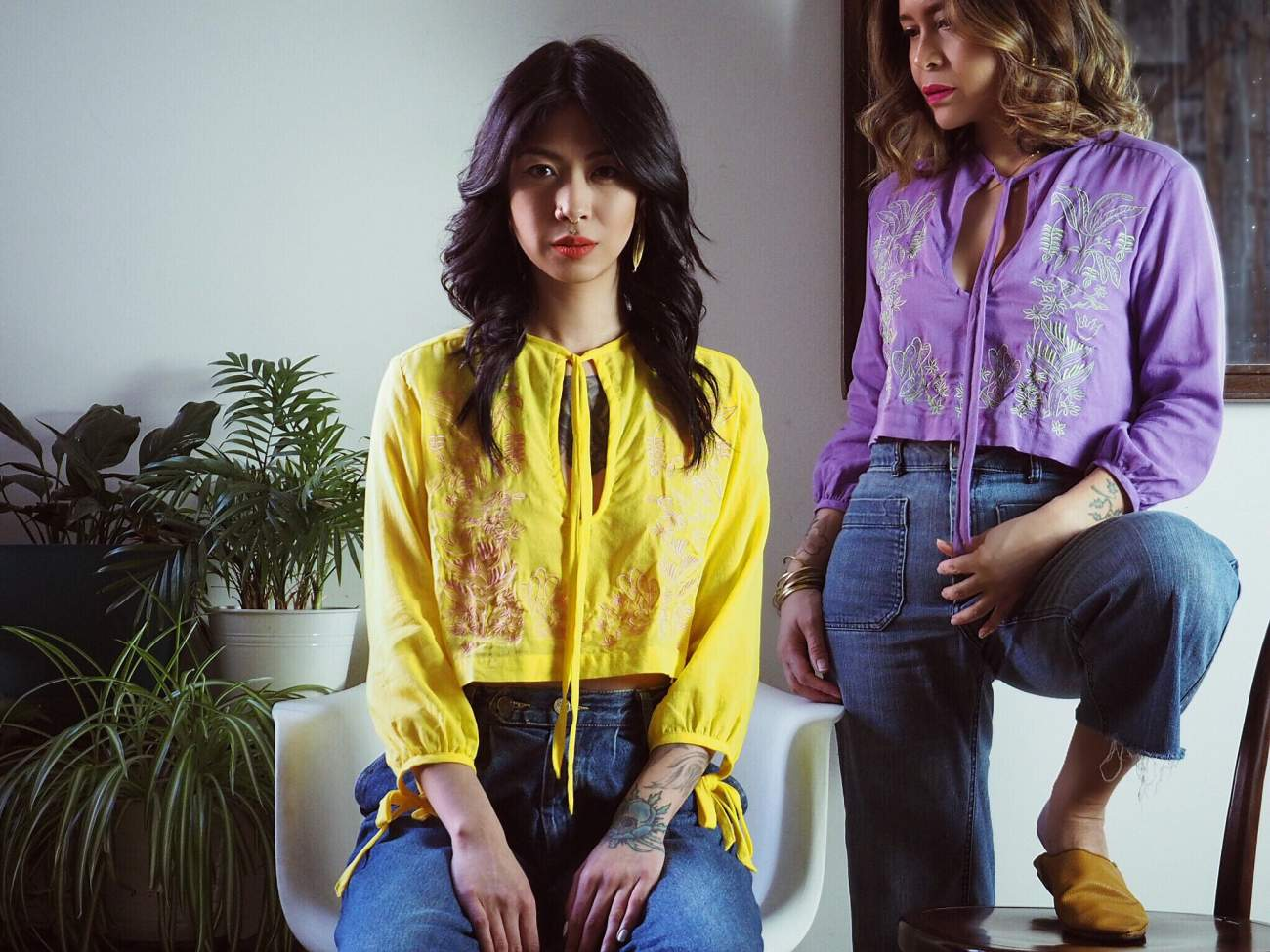 VINTA Crop Barong Blouse, Saba and Ube, styled with blue denim jeans