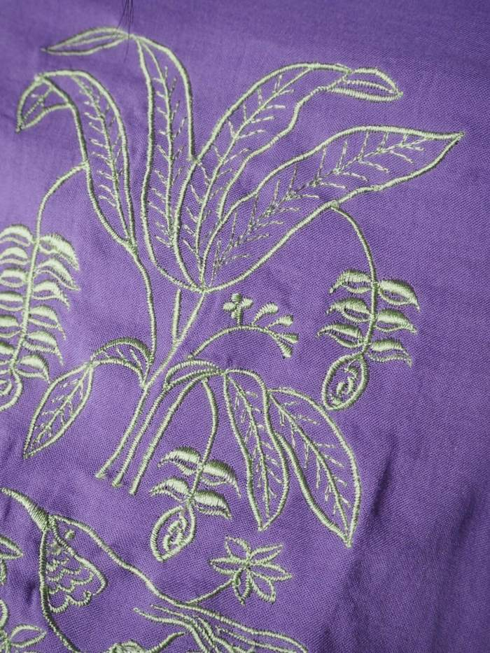 VINTA Crop Barong Blouse, Ube detail with mint embroidery