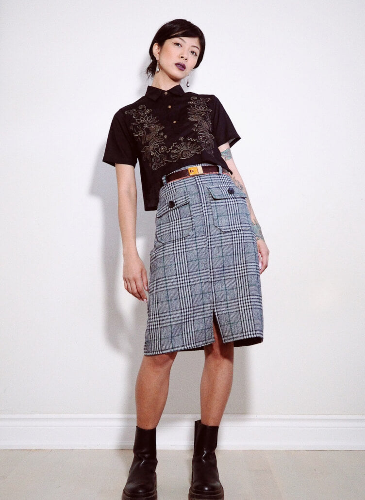 VINTA Short Sleeve Crop Barong in Black; worn with high-waisted plaid skirt and chunky black boots.