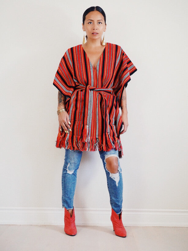 VINTA Handloomed Ifugao Poncho - Front View with Belt and Pants