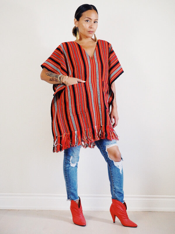 VINTA Handloomed Ifugao Poncho - Front View, No Belt with Pants