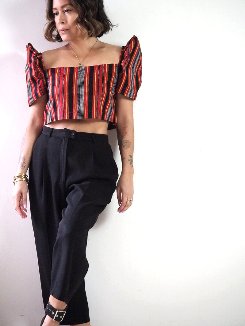 VINTA Ifugao Print Belly Top Terno