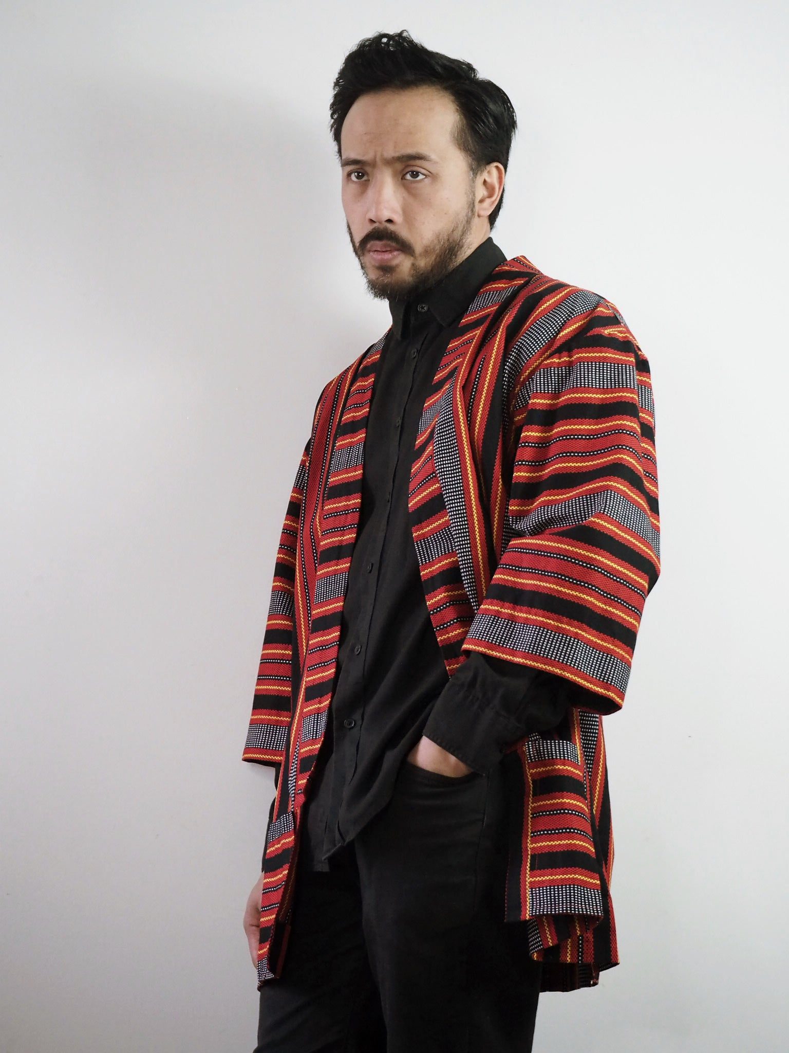 VINTA Unisex Printed Ifugao Jacket on Darrel 3/4 View