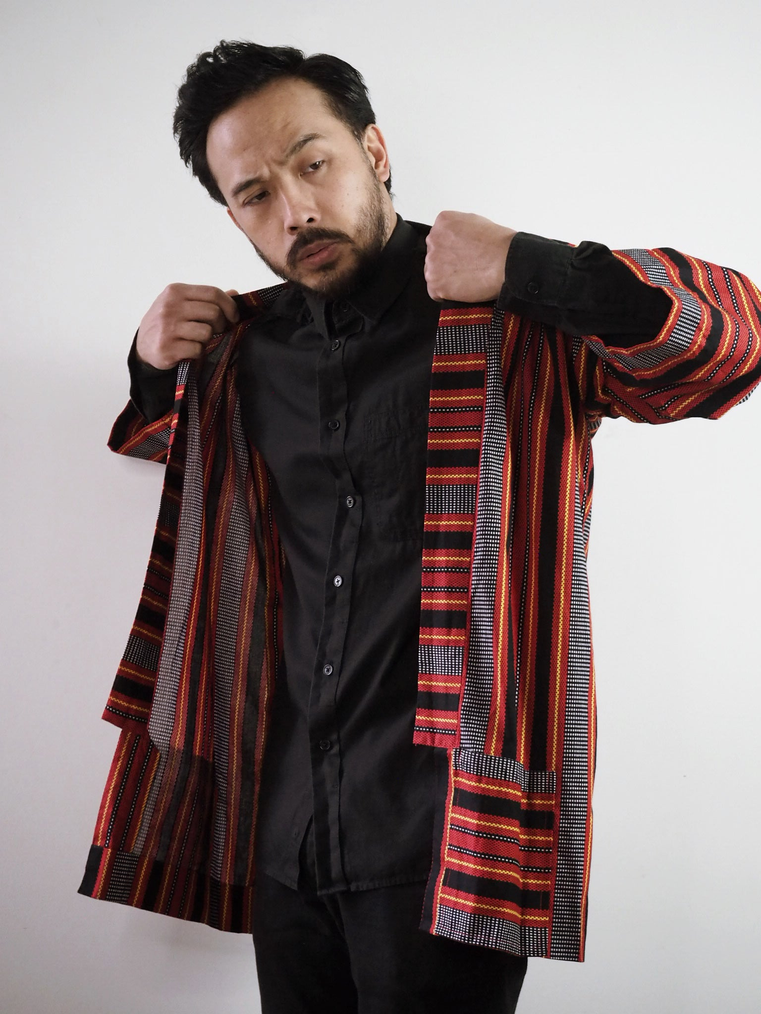 VINTA Unisex Printed Ifugao Jacket on Darrel Lapels Lifted