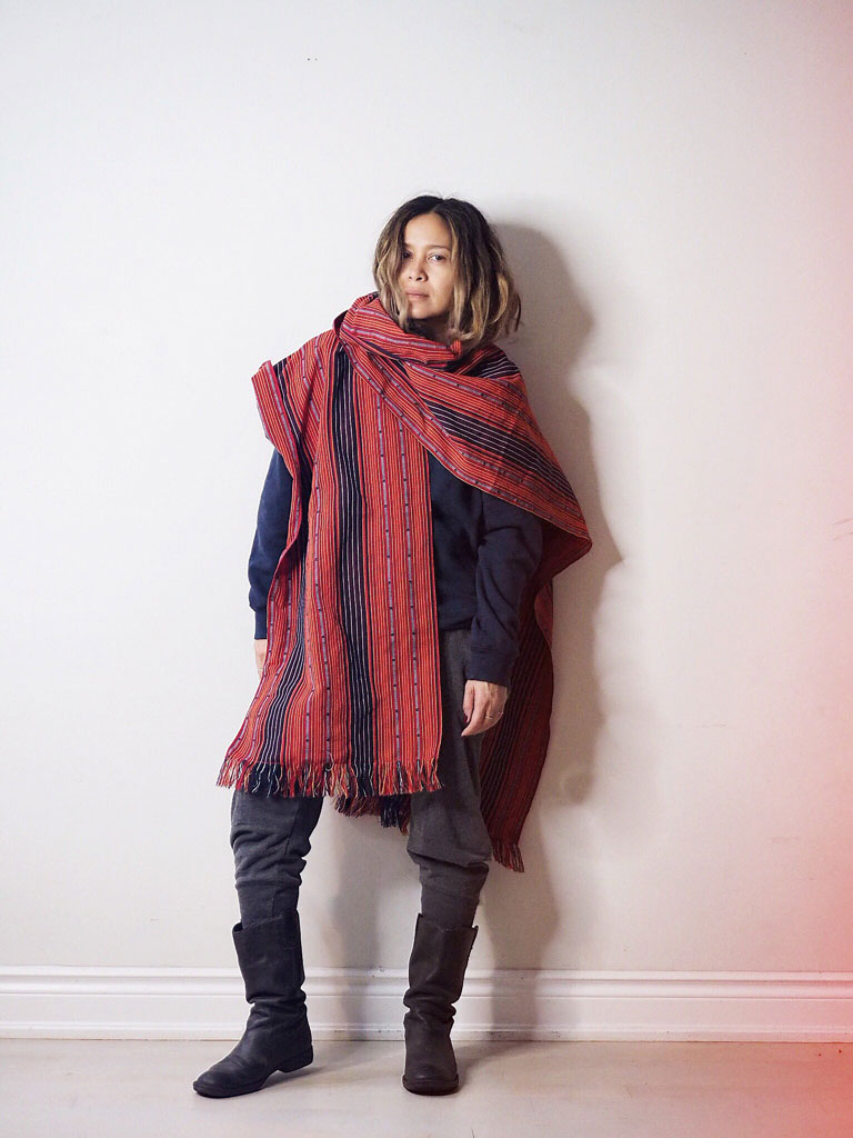 VINTA Unisex Handloomed Ifugao Poncho Wrap in Red