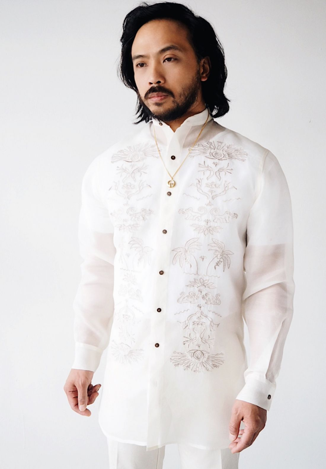 VINTA Filipino Deco Jusi Tunic Barong, Natural, front view