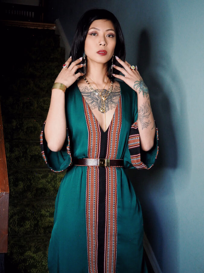 VINTA Kaftan in Emerald Green; cinched at waist with vintage belt and worn with VINTA Lingling-O Lariat.