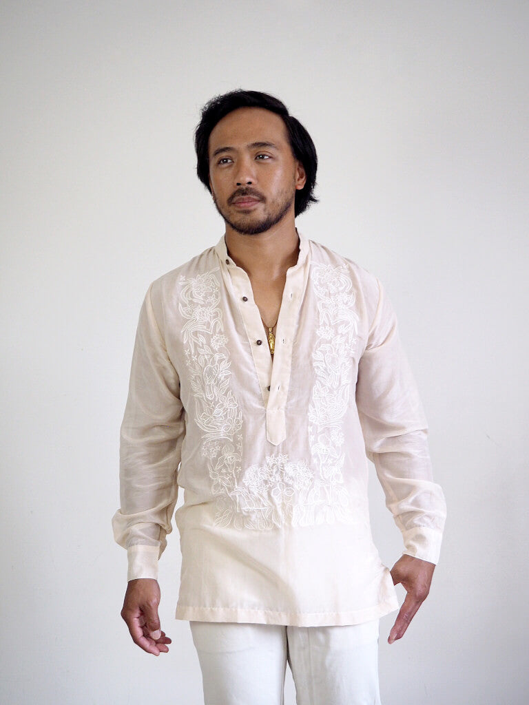 VINTA Relaxed Pechera Barong - Front View, Unbuttoned