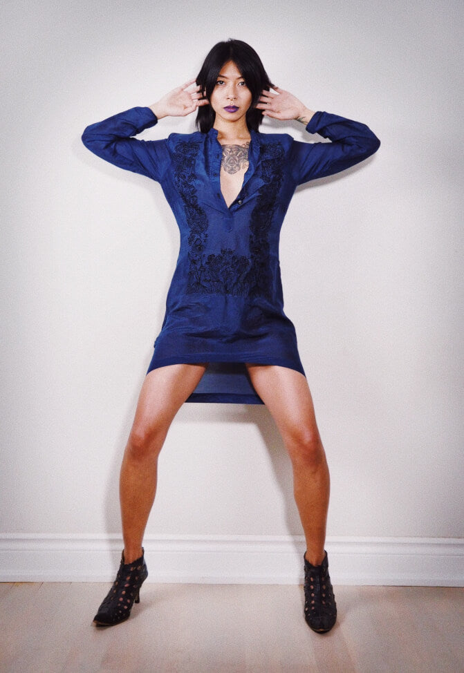 VINTA Sapphire Blue Tibo Barong Tunic, unbuttoned and styled alone with strappy black heels
