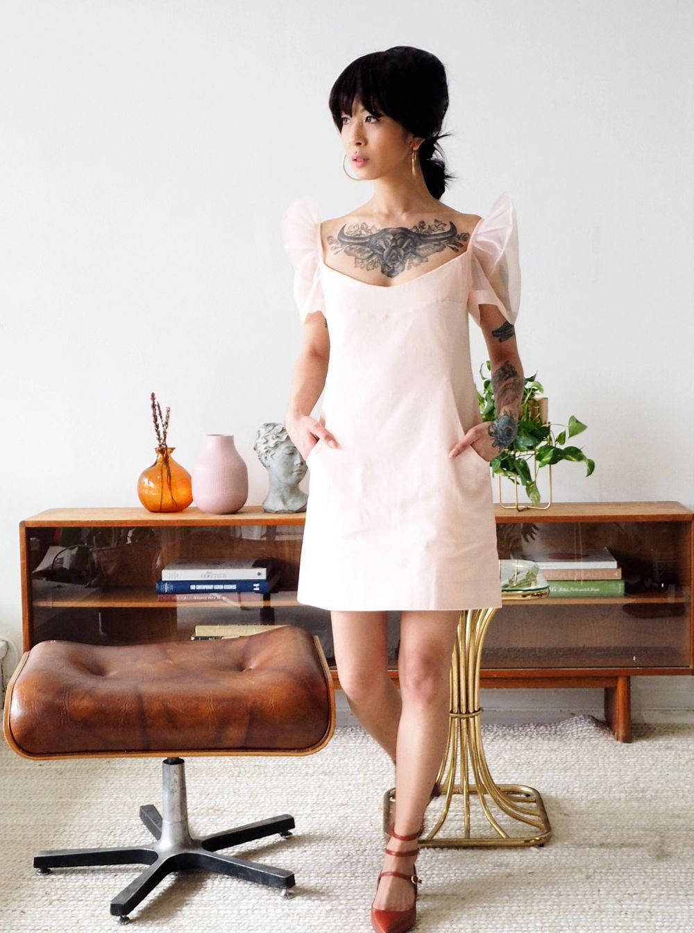 VINTA Shoulder Shift Terno Dress, Pearly Peach, full shot, mod styled with strappy red heels