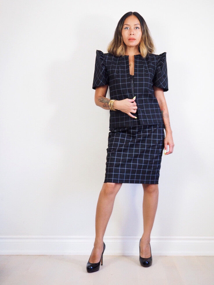 VINTA Terno Suit Jacket in Black - Front View with VINTA Terno Suit Skirt in Black