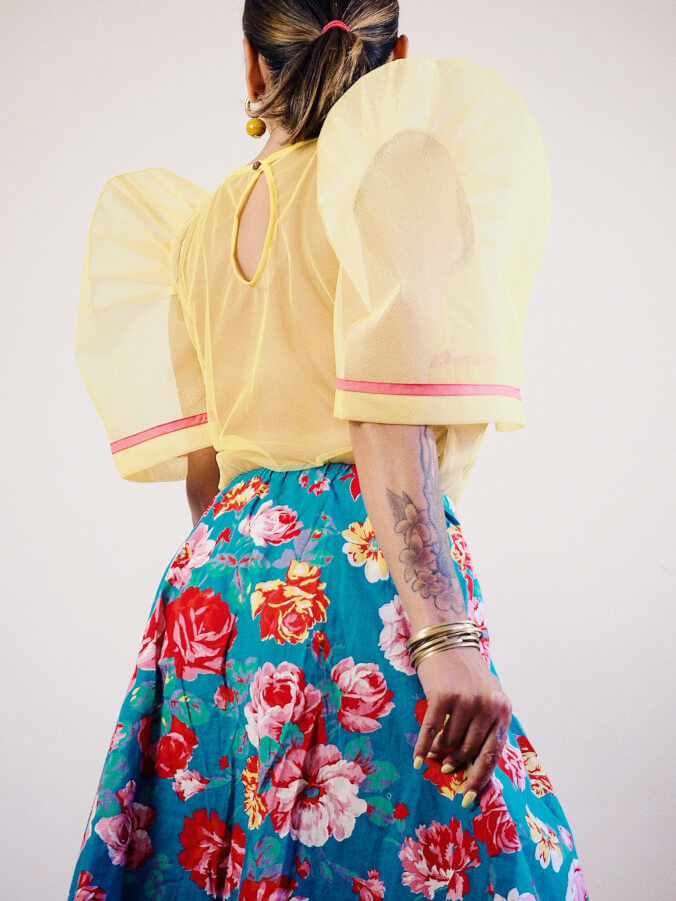 VINTA Tulle Camisa in Yellow - Back View, Tucked In, Styled with Skirt
