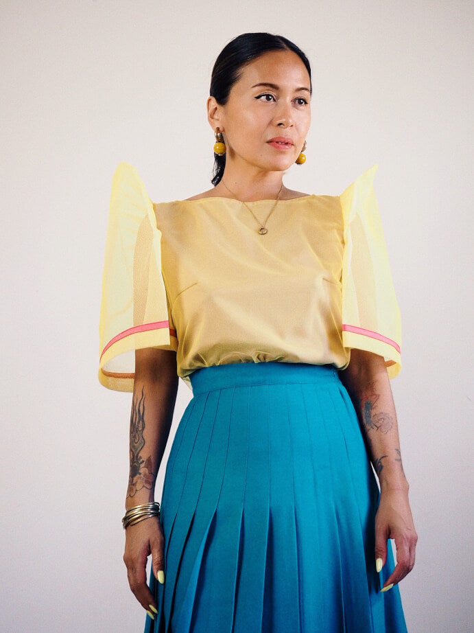 VINTA Tulle Camisa in Yellow - Front View, Tucked In, Styled with Skirt