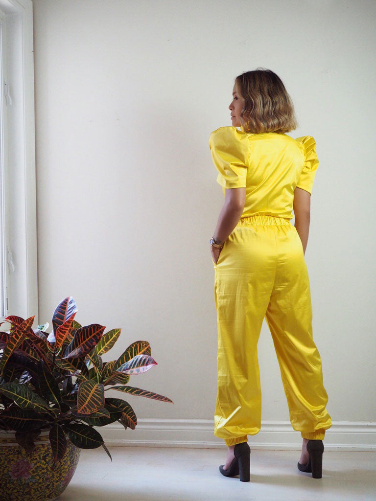 VINTA Terno Jumpsuit Dos in Yellow Back View