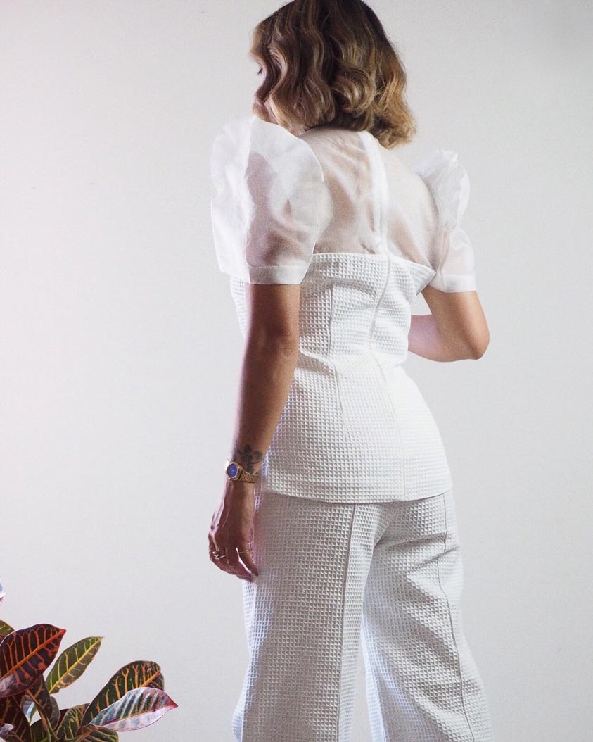 VINTA Terno Set - White Palazzo Pants Back View