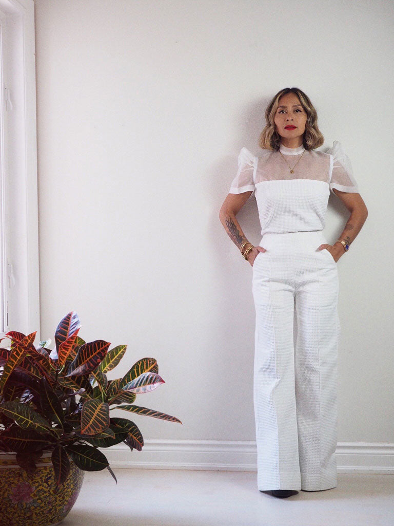 VINTA Terno Set Top - Front View, Tucked In, Styled with Terno Set Palazzo Pants, Hands in Pockets