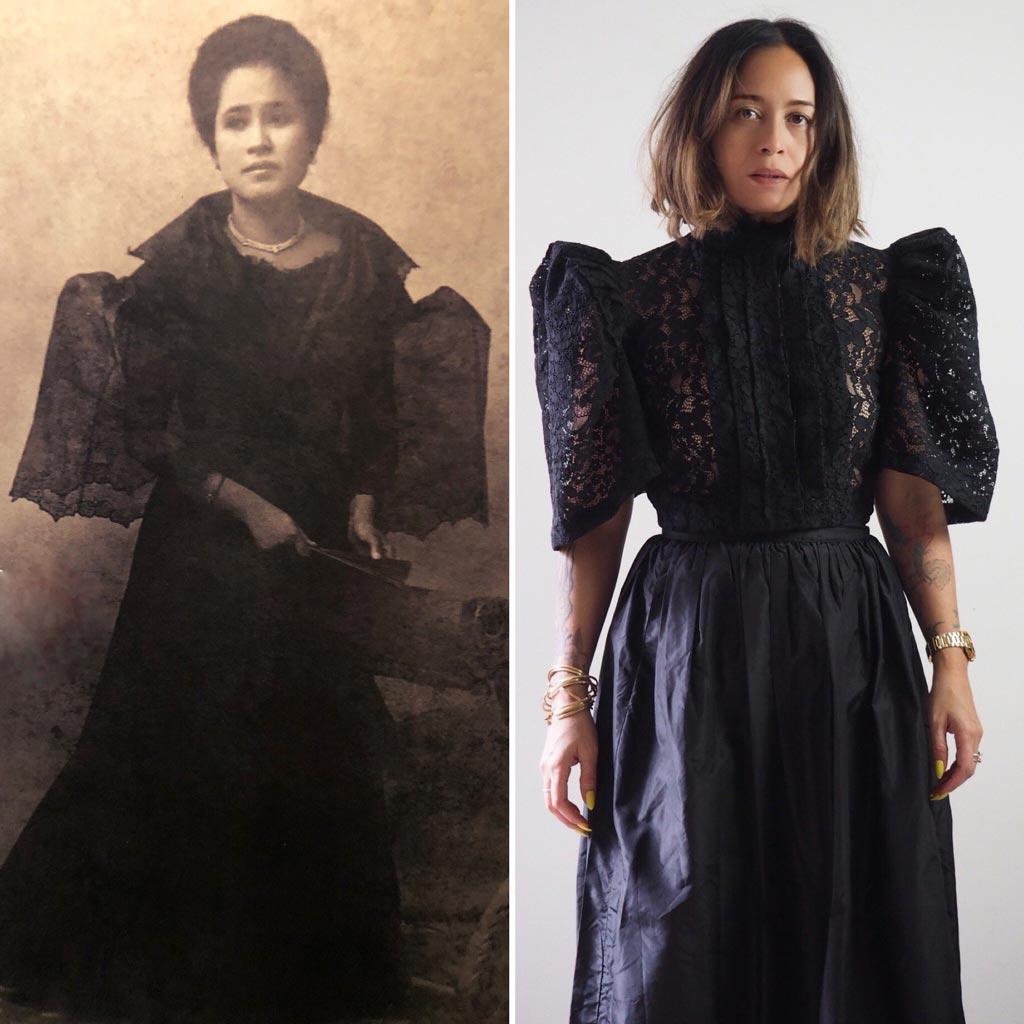 VINTA High Neck Pleat Front Camisa in Black, Styled with High Waisted Black Skirt, Shown Side by Side with an old photograph of a Filipino Woman in similar style