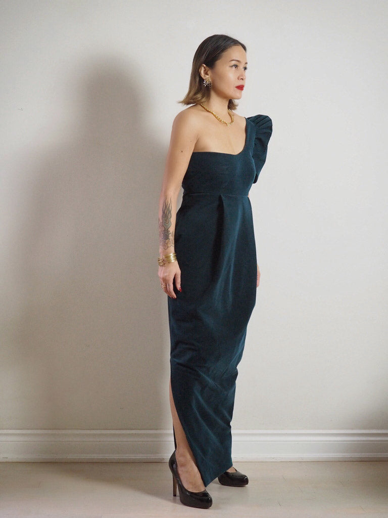 VINTA Asymmetrical Terno Dress Side View