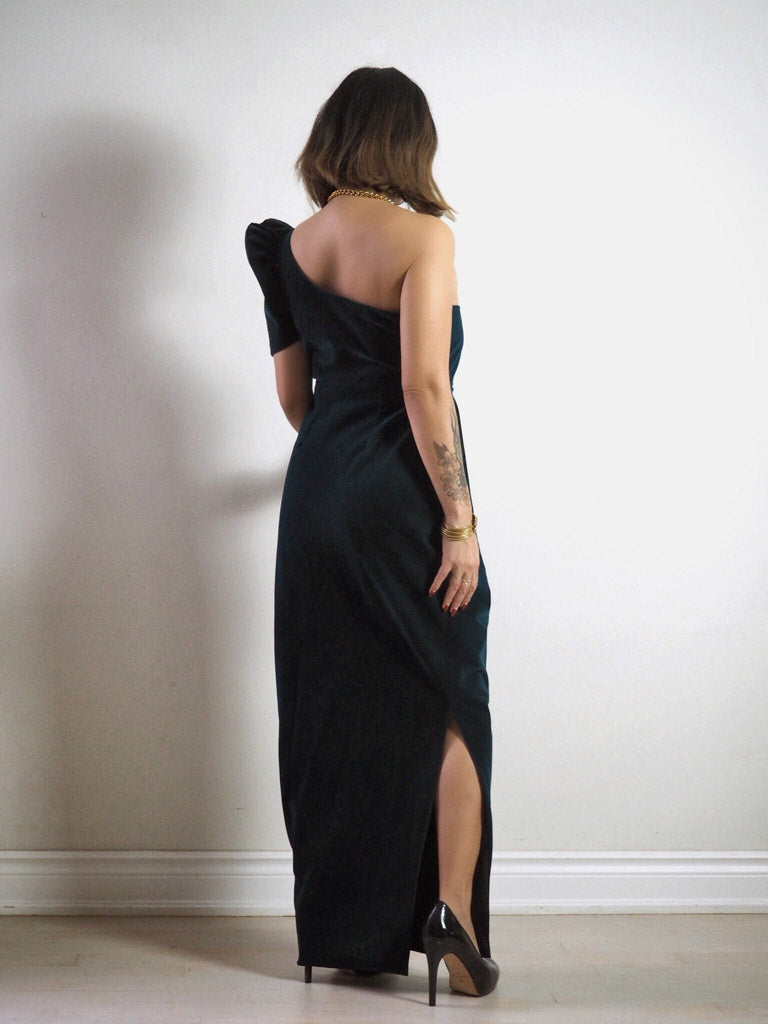 VINTA Asymmetrical Terno Dress Back View