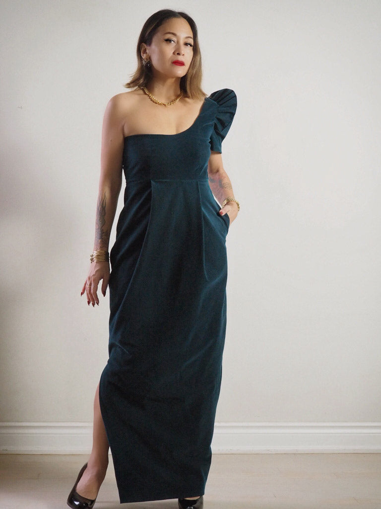 VINTA Asymmetrical Terno Dress in Dark Teal Green Velvet