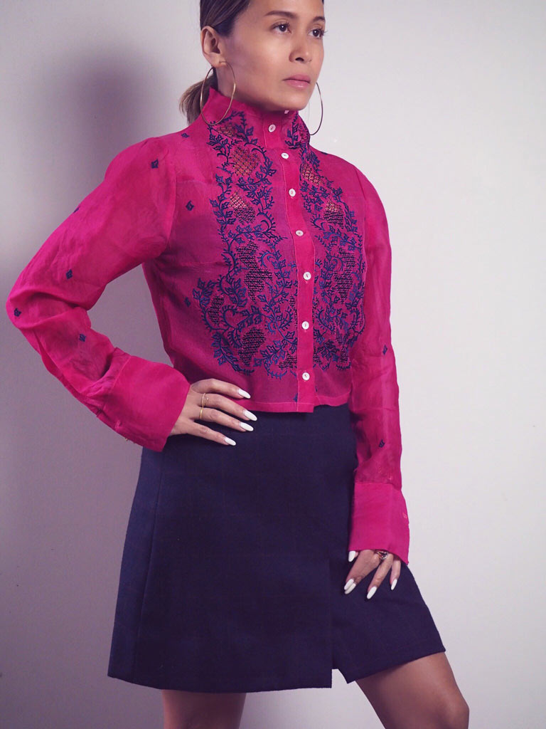 VINTA High Neck Crop Barong in Rich Cerise