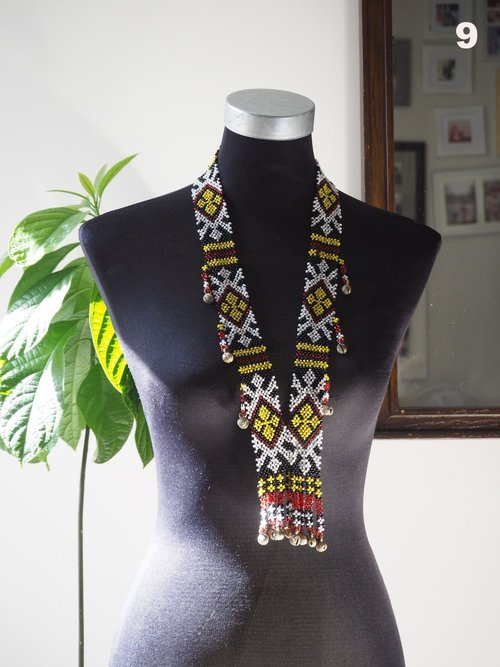 Hand Beaded T'Boli Necklace with Brass Bells