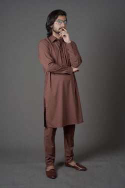 Caramel Deep Brown 2 Piece Suit for Men by Wear Manto with a Pakistani Peshawari Style Collar and Comfortable Wear