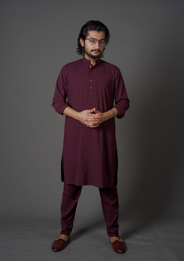 Wine Red Maroon Manto Two Piece Suit With Sherwani Chinese Collar Style Design Ultra Comfortable Material Easy Wear For Men