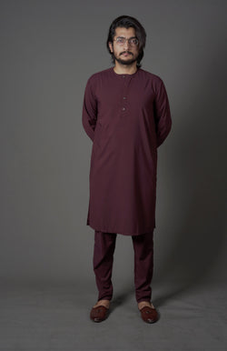 Wine Red Maroon Manto Two Piece Suit With Collarless Lucknow Style Design Ultra Comfortable Material Easy Wear For Men